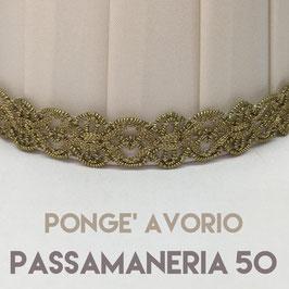 CONO PLISSE' PONGE' AVORIO CON PASSAMANERIA 50