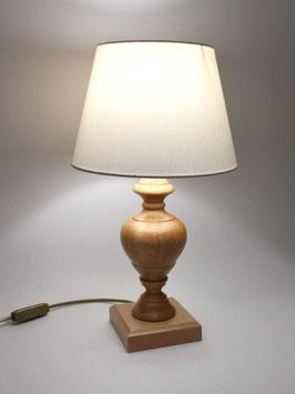Abat-Jour comodino h.40 cm Asia legno naturale con paralume Avorio