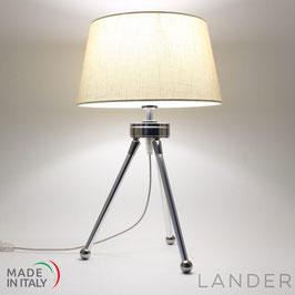 Lampada Treppiede h.41 cm LANDER con Paralume in Lino Avorio