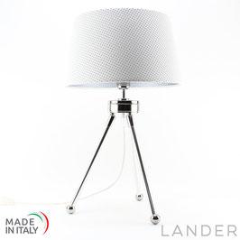 Lampada Treppiede h.41 cm LANDER con Paralume in Eco Pelle Bianca