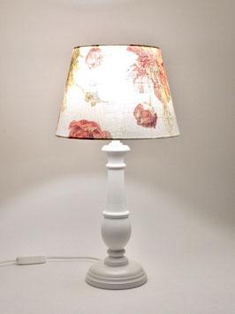 Abat-Jour comodino h.42 cm Chic in legno laccato bianco con paralume Fiorato