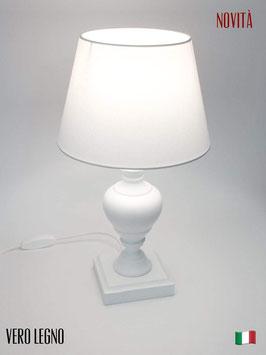 Abat-Jour comodino h.39 cm Asia in legno laccato bianco con paralume Bianco