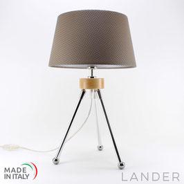 Lampada Treppiede h.41 cm LANDER con Paralume in Eco Pelle Chocolate