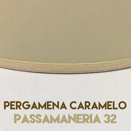VENTOLA SAGOMATA PERGAMENA CARAMELO CON PASSAMANERIA 32
