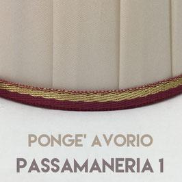 IMPERO PLISSE' PONGE' AVORIO CON PASSAMANERIA 1
