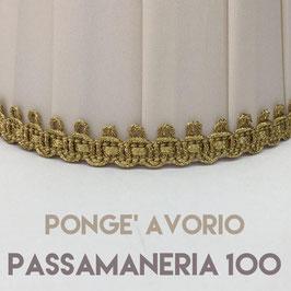 CONO PLISSE' PONGE' AVORIO CON PASSAMANERIA 100