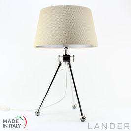 Lampada Treppiede h.41 cm LANDER con Paralume in Eco Pelle Crema