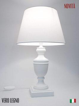 Abat-Jour comodino h.42 cm Ambra in legno laccato bianco con paralume Bianco