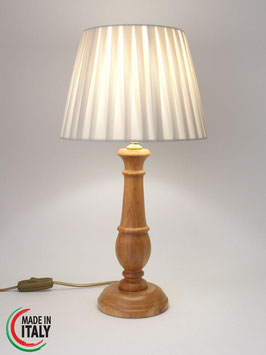 Abat-Jour comodino h.43 cm Chic in legno naturale con Impero Plissè Pongè