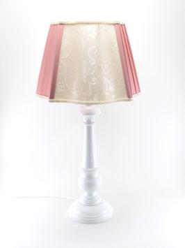 Abat-Jour da Tavolo h.55 cm Bacio legno bianco con paralume Cono Plissettato Avorio