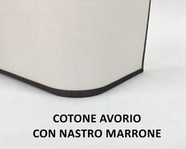 APPLIQUE RETTANGOLO COTONE AVORIO CON NASTRO MARRONE