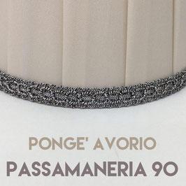 CONO PLISSE' PONGE' AVORIO CON PASSAMANERIA 90