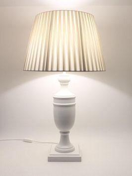 Abat-Jour da Tavolo h.70 cm Ambra in legno bianco con paralume Impero Plissettato Avorio