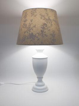 Abat-Jour h.60 cm Ginevra in legno laccato bianco con paralume Impero Country