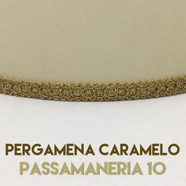 VENTOLA ANTIQUARIO PERGAMENA CARAMELO CON PASSAMANERIA 10