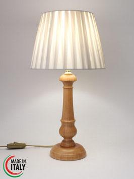 Abat-Jour comodino h.43 cm Bacio in legno naturale con Impero Plissè Pongè