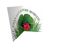 Geburtstagskarte mit Marienkäfer und Kleeblatt