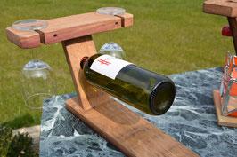 Weinflaschenhalter für 1 Flasche und 2 Gläser