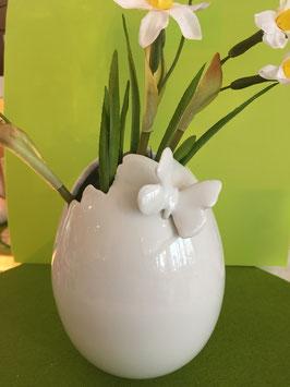 Ei-Vase mittel, 15 cm, glasiert, mit Schmetterling (körperlich)