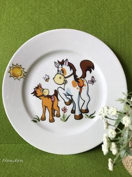 """Teller flach 21 cm """"Lustige Tiere, Pferde"""""""