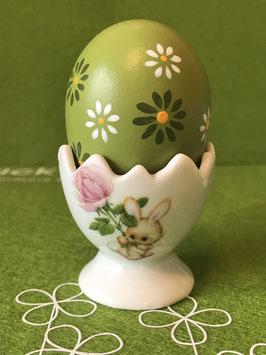 "Eierbecher mit Fuß, gezackt, 4,5cm, ""Blütenhase (Rose)"""