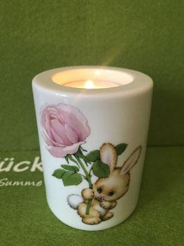 """Teelicht-Leuchter klein, 8 cm, """"Blütenhase (Rose)"""""""