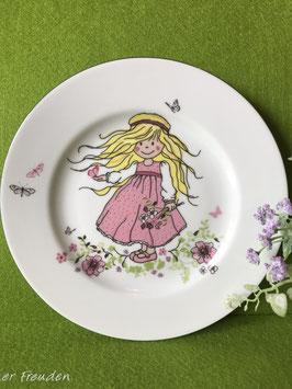 """Teller flach 21 cm """"Mädchen rosafarbenes Kleid"""""""
