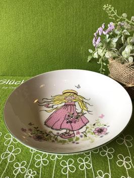 """Schale flach 19 cm """"Mädchen rosafarbenes Kleid"""""""