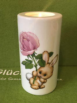 """Teelicht-Leuchter mittel, 12 cm, """"Blütenhase (Rose)"""""""
