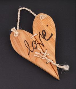Holzherz hängend - LOVE - handgemacht
