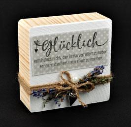 Holzblock mit Spruch & Lavendeldeko - BESTES