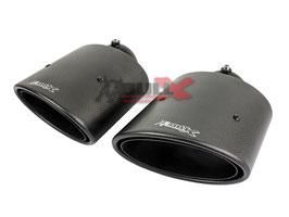 Bull-X Carbon Endrohrset oval 2x 145x90mm mit Kugelkopfanschluss