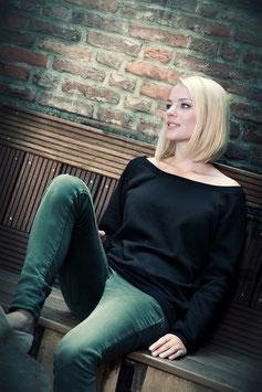 Wideneck Sweatshirt - schwarz