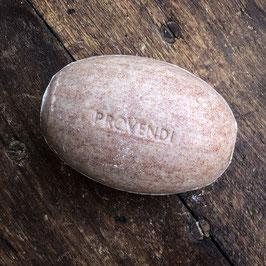 Provendi Seifenhalter (verchromt, Schraubverschluss) mit Zedernholz-Seife  (mit gemahlenen Aprikosenkernen, 300 gr)