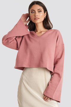 NA-KD Cropped V-Neck Oversized Sweater