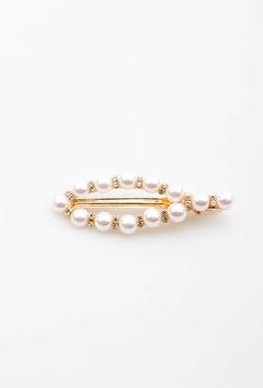 XXL Spange Tropfenform, gold mit Perlen besetzt