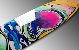 Smile You SOB - Shark Longboard Painting
