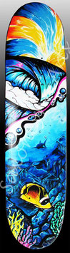 Liquid Skies Wave Sun Fish Skateboard Painting