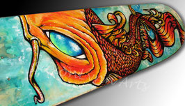Earth Koi Fish Skateboard Painting