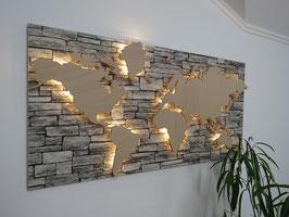 Weltkarte Steinoptik
