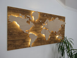 Weltkarte Holzoptik