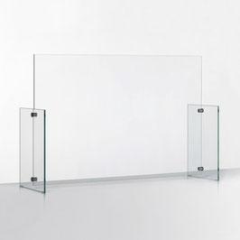SPUCKSCHUTZ AUS GLAS / Querformat (mit schmalem Schlitz, unten)