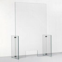 SPUCKSCHUTZ AUS GLAS / Hochformat (mit kleiner Durchreiche)