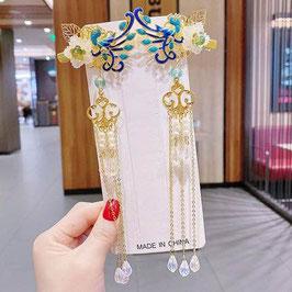ヘアクリップ 漢風 中華風 チャイナドレス 漢服 髪飾り ヘアアクセ20210900 青