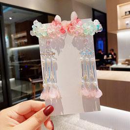ヘアクリップ 漢風 中華風 チャイナドレス 漢服 髪飾り ヘアアクセ20210915 ピンク