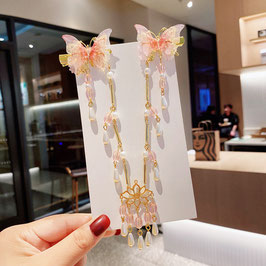 ヘアクリップ 漢風 中華風 チャイナドレス 漢服 髪飾り ヘアアクセ20210918 ピンク