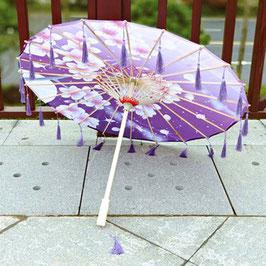 工芸傘  中華ふさ付 (紫色花朵)
