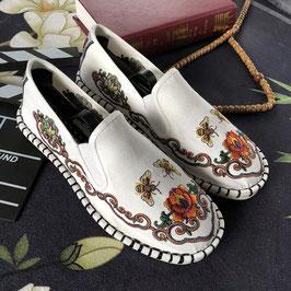 北京布靴 刺繍フラットシューズ  ≪花蜜蜂≫