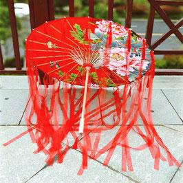 工芸傘   中華ふさ&リボン(紅牡丹)