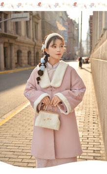 ☆.  チャイナ風子コート 漢風コート 古風 レトロ かわいい ピンク ふわふわ 刺繍 中華ボタン